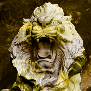 A tinted lion sculpture roaring