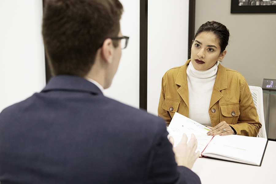 Students do a mock interview in PNW's Professional Selling Lab