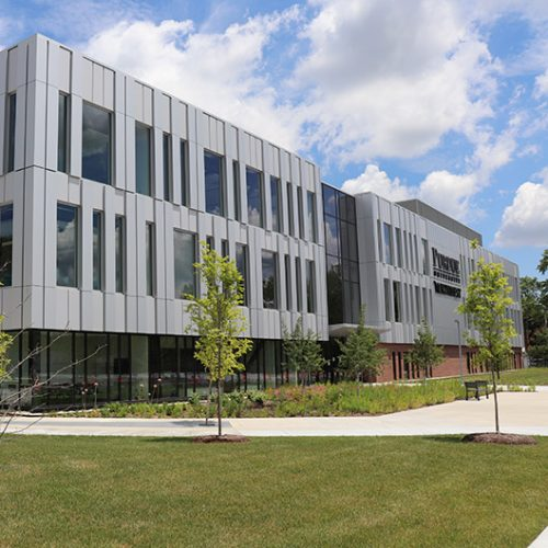 A view of PNW's Nils K Nelson Bioscience Innovation Building