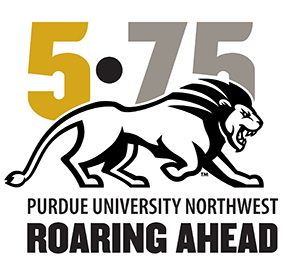 Logo: 5•75 Purdue University Northwest Roaring Ahead with an illustration of a striding lion.