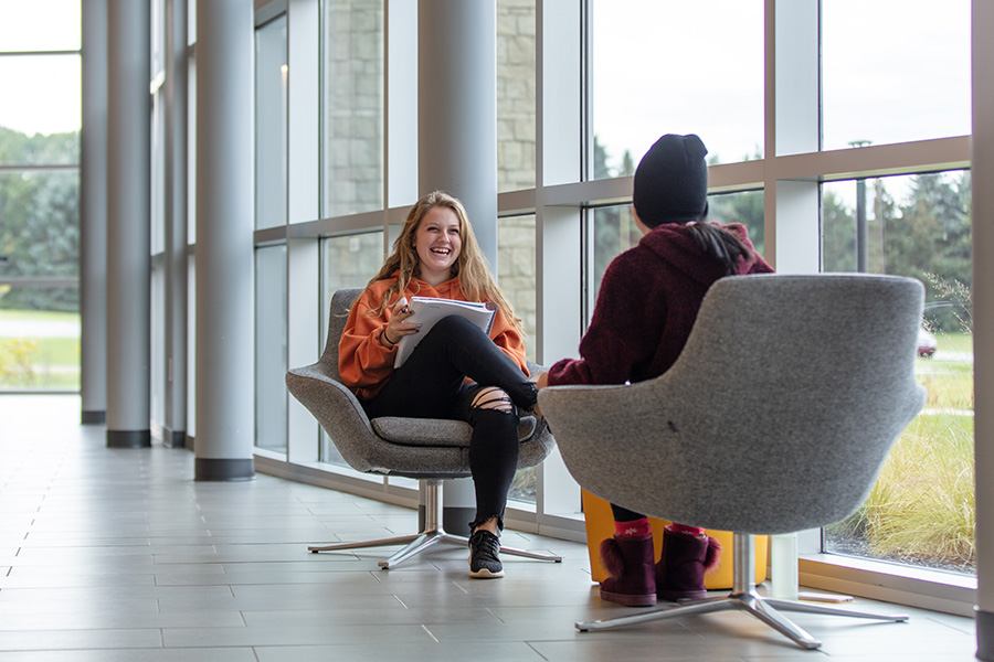 Students laugh in PNW's Dworkin Center
