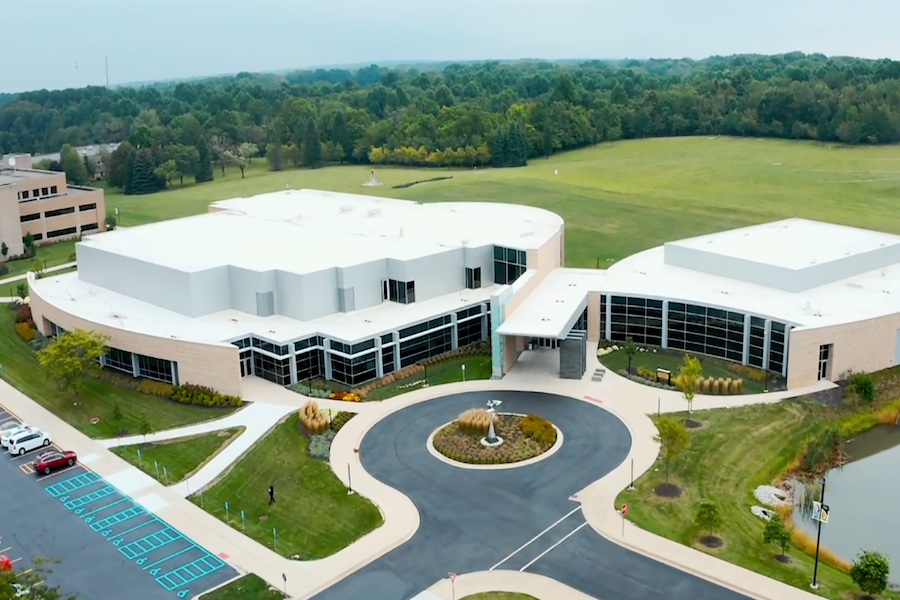An aerial shot of DSAC is pictured.