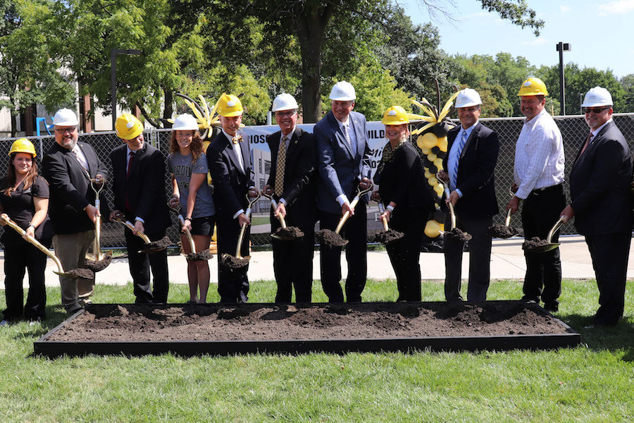 Breaking ground on the Bioscience building.