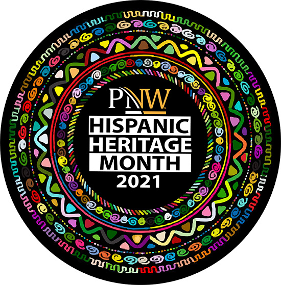 A circle of colorful designs with text in the center saying PNW Hispanic Heritage Month 2021.