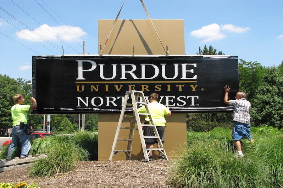 PNW Westville sign is installed.