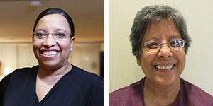 PNW Professors Karen Bishop Morris (left) and Deepa Majumdar (right)