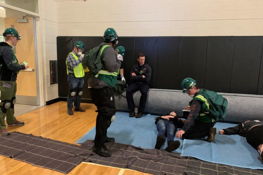 PNW CERT members practice rescue techniques on the Westville campus in 2019.